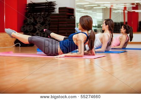 Strengthening their core at a gym