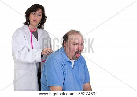 Patient Coughing Badly At Examine
