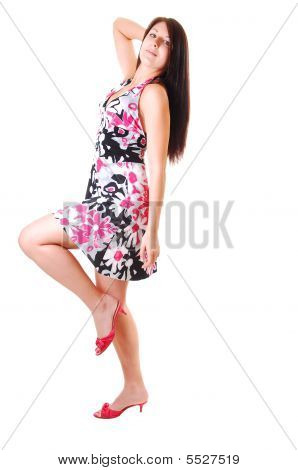 Woman Dancing In Dress.