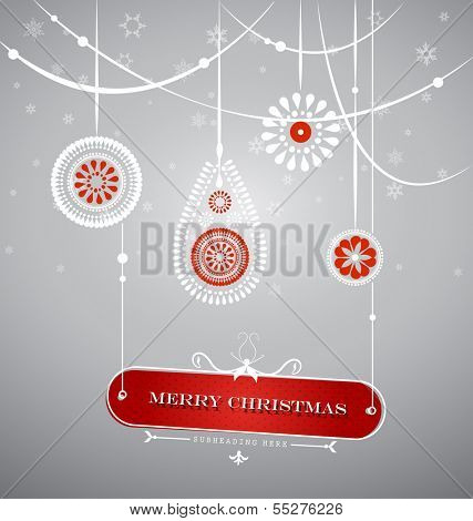Christmas decoration with hanging plate with Christmas sign.