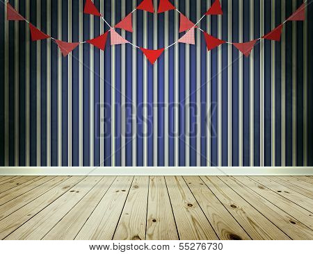 Stripe Wallpaper Background With Pennants Festoon