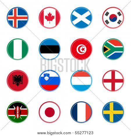 world flag icons - stickers 4/4 (official colors)