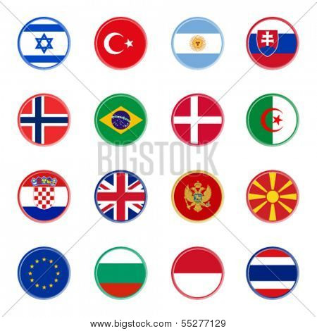 world flag icons - stickers 3/4 (official colors)