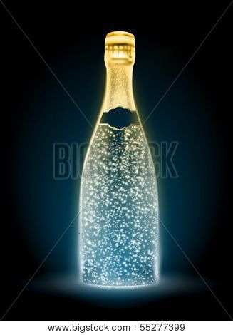 glowing vector champagne bottle illustration