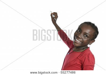 African Girl Writing With Pencil, Free Copy Space