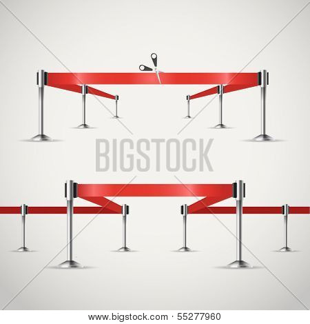 Presentation vector template with red ribbons