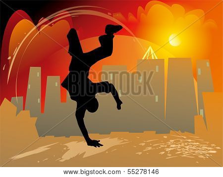 Breakdance Style With Jump And Handstand