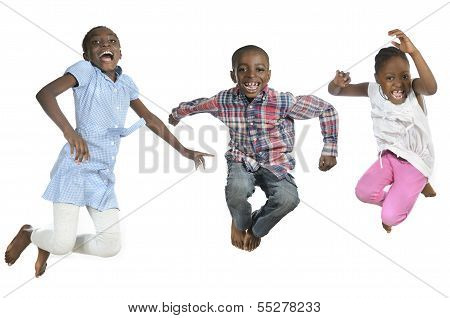 Three African Kids Jumping High