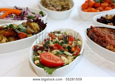 Closeup scene of different types of salads