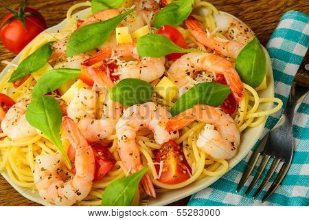 Shrimps And Spaghetti Pasta