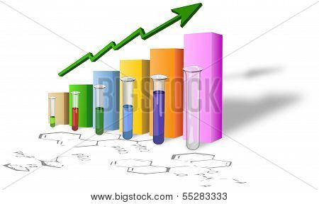 Chemistry progress graph with test tubes