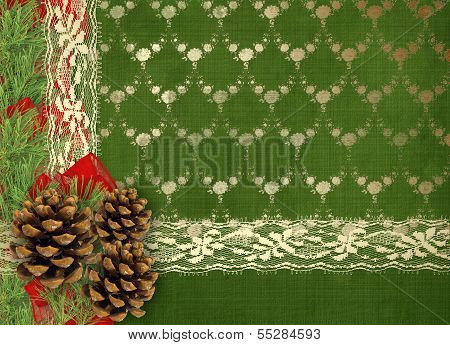 Christmas Greeting Card With Branches Of Spruce, Cone And Ribbons