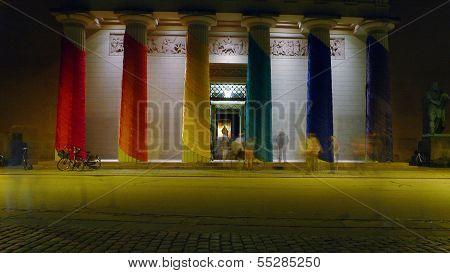 Church Of Our Lady (danish: Vor Frue Kirke) In Copenhagen Draped In Rainbow Colors