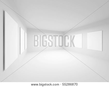 Empty White Art Gallery Hall Interior. Abstract 3D Illustration