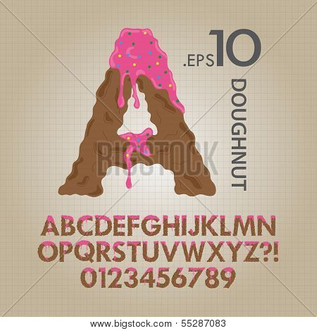 Creamy Doughnut Alphabet And Numbers Vector