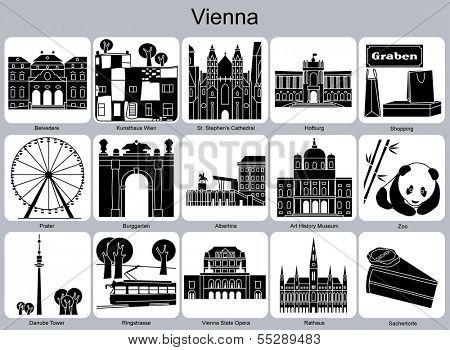 Landmarks of Vienna. Set of monochrome icons. Raster illustration.