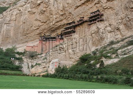 Famous Hanging Monastery In Shanxi Province Near Datong, China, Viewed From Distance
