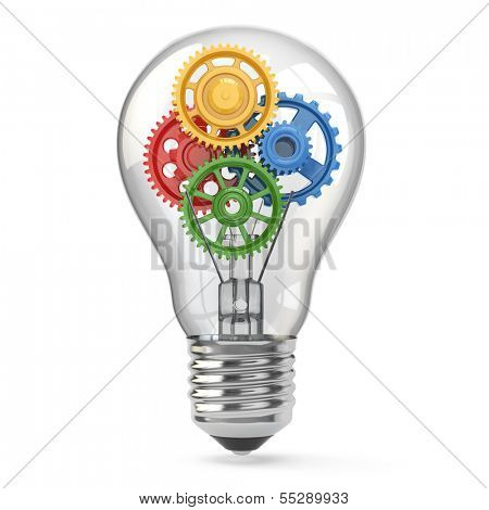 Light  bulb and gears. Perpetuum mobile idea concept. 3d