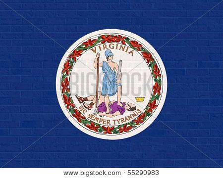 Virginia state flag of America on brick wall, isolated on white background.