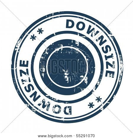 Downsize concept stamp isolated on a white background.