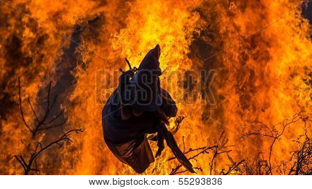 Burning Of An Effigy Made Of Straw Meant To Depict A Witch