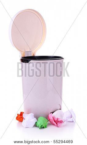 Garbage bin, isolated on white
