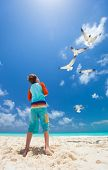 image of flock seagulls  - Little boy and a flock of seagulls at Caribbean beach - JPG