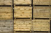 pic of wooden crate  - stack of wooden potato crates - JPG