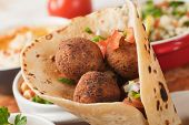 Falafel, middle eastern deep fried chickpea balls with pita bread