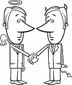 pic of lobbyist  - Black and White Concept Cartoon Illustration of Angel and Devil Businessmen or Politicians Shaking Hands - JPG