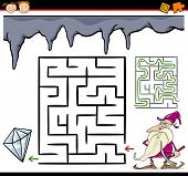 stock photo of dwarf  - Cartoon Illustration of Education Maze or Labyrinth Game for Preschool Children with Funny Dwarf in Mine and Diamond Gem - JPG