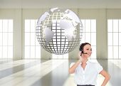image of smart grid  - Composite image of cheerful smart call center agent working while posing - JPG