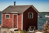 red fishing shack