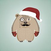 pic of wombat  - Illustration of a funny hipster wombat with mustache and monocle - JPG