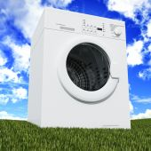 picture of washing machine  - fine 3d washing machine with blue cloudy sky and green grass - JPG
