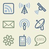 Communication web icons, money color set
