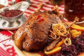 picture of roast duck  - roasted duck on Christmas table - JPG