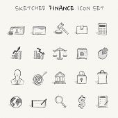 picture of analogy  - Sketched finance icon set that you can use when you want to add some analog touch to your design - JPG