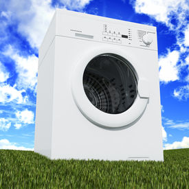 foto of washing-machine  - fine 3d washing machine with blue cloudy sky and green grass - JPG