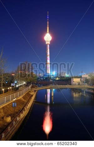 BEIJING, CHINA - APR 6: Central Radio & TV Tower at night on April 6, 2013 in Beijing, China. It is the tallest architecture in Beijing and member of the World Federation of Great Towers.