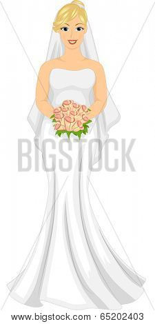 Illustration of a Slightly Pudgy Caucasian Bride in Her Wedding Dress