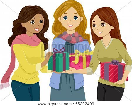 Illustration of Girls in Winter Clothes Exchanging Gifts