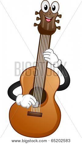 Mascot Illustration of an Acoustic Guitar Plucking its Strings