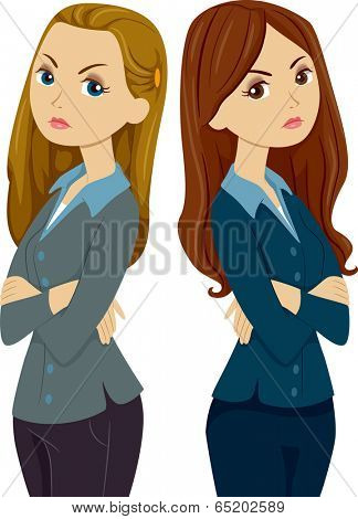 Illustration of Female Co-workers Ignoring Each Other Following an Argument