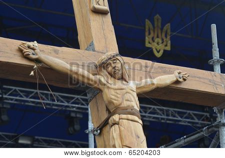 KIEV, UKRAINE - APR 19, 2014: Second crucifixion of Jesus.Burned downtown of Kiev.Rioters camp. Putsch of junta in Kiev and Western Ukraine.April 19, 2014 Kiev, Ukraine