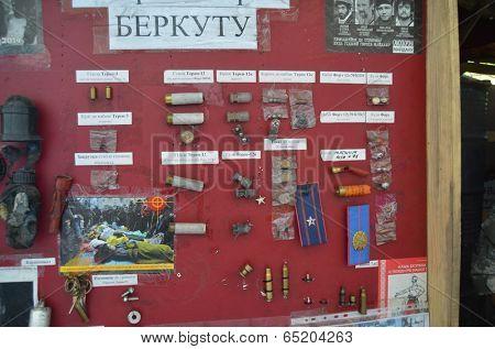 KIEV, UKRAINE - APR 24, 2014: Downtown of Kiev.Camp decoration with military items.Rioters camp.Putsch of Junta.April 24, 2014 Kiev, Ukraine