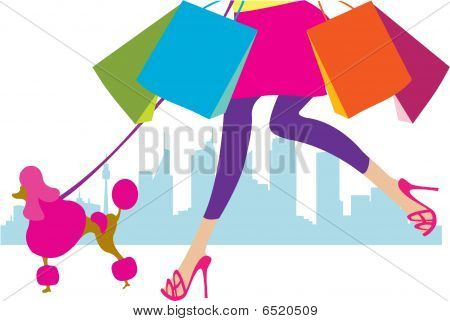 girl with her pudel, shopping