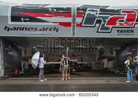 PUTRAJAYA, MALAYSIA - MAY 17, 2014: The Edge 540 V3 plane of Hannes Arch of Austria parks at the hangar before the race during the Red Bull Air Race World Championship 2014 in Putrajaya, Malaysia.