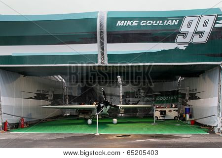 PUTRAJAYA, MALAYSIA - MAY 17, 2014: The Edge 540 V2 plane of Michael Goulian of USA parks at the hangar before the race during the Red Bull Air Race World Championship 2014 in Putrajaya, Malaysia.
