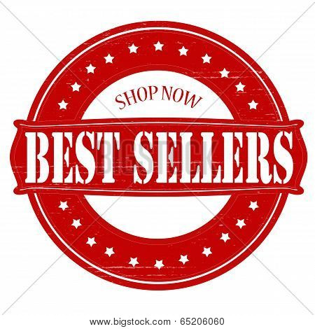 Stamp with text best sellers inside vector illustration